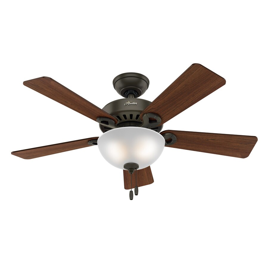 Hunter Ridgefield Bowl 5 Minute Fan 44-in New Bronze Downrod or Close Mount Indoor Residential Ceiling Fan with Light Kit