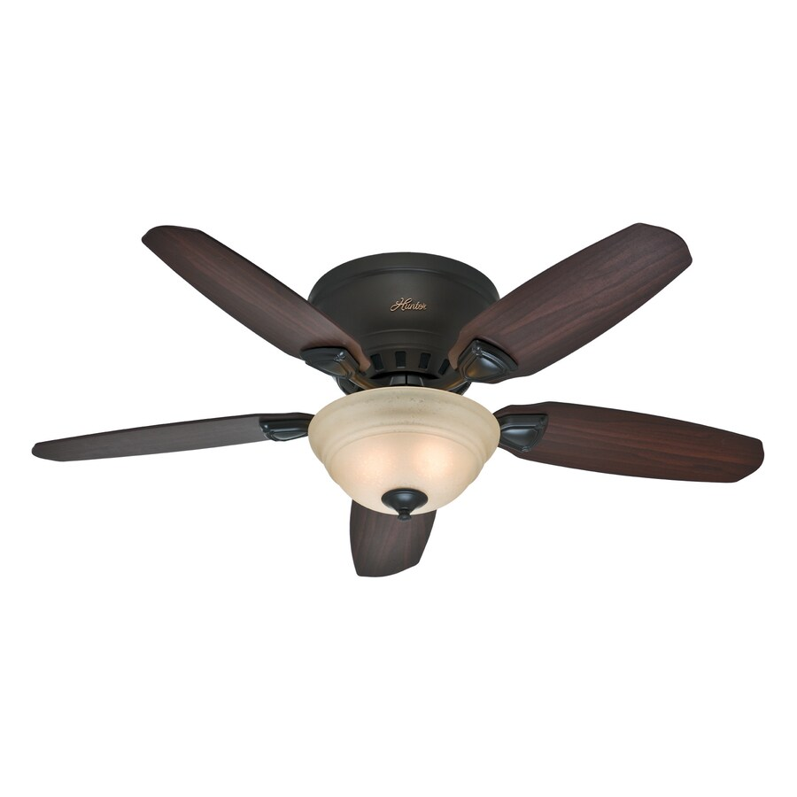 Hunter Louden 46-in Premier Bronze Flush Mount Indoor Residential Ceiling Fan with Light Kit