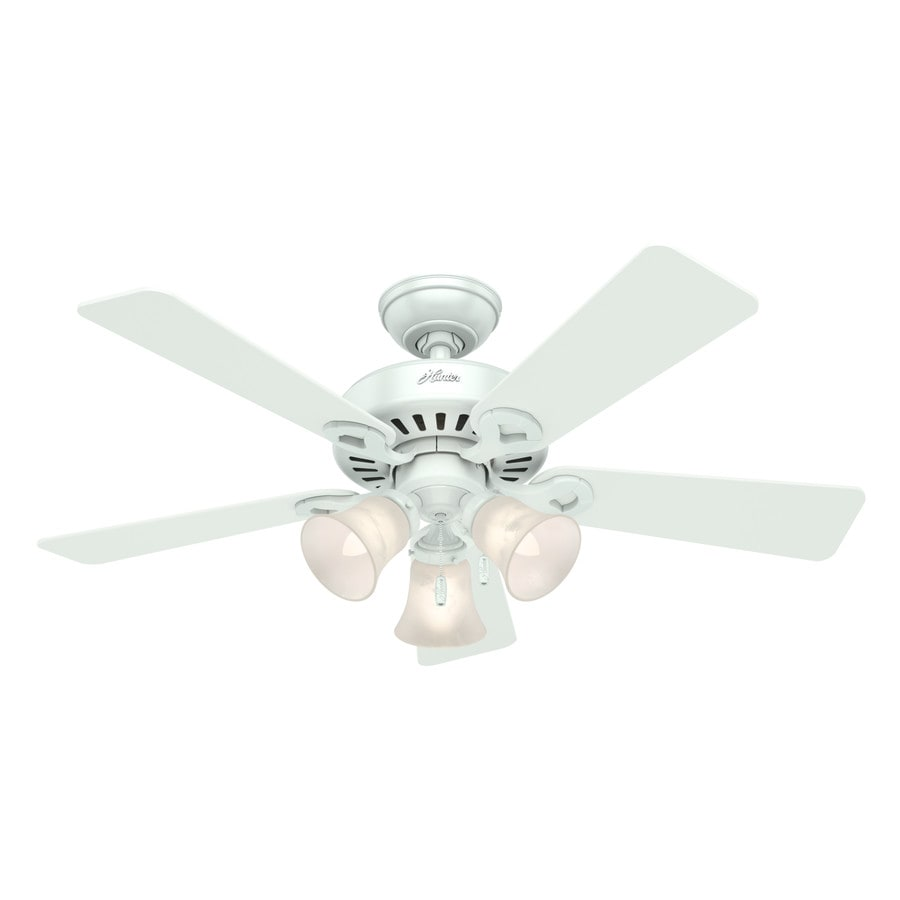 Hunter Ridgefield II 44-in White Downrod or Close Mount Indoor Residential Ceiling Fan with Light Kit