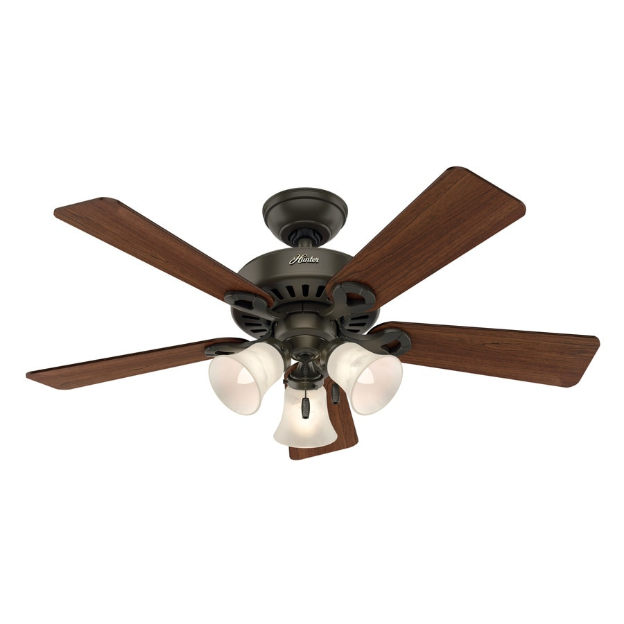 Hunter Ridgefield II 44-in New Bronze Downrod or Close Mount Indoor Residential Ceiling Fan with Light Kit