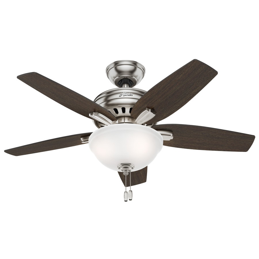 Hunter Newsome 42-in Brushed Nickel Downrod or Close Mount Indoor Residential Ceiling Fan with Light Kit