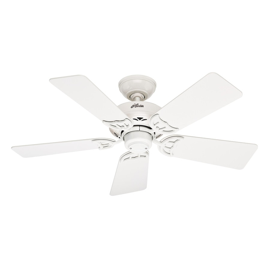 Hunter Hudson 42-in White Downrod or Close Mount Indoor Ceiling Fan
