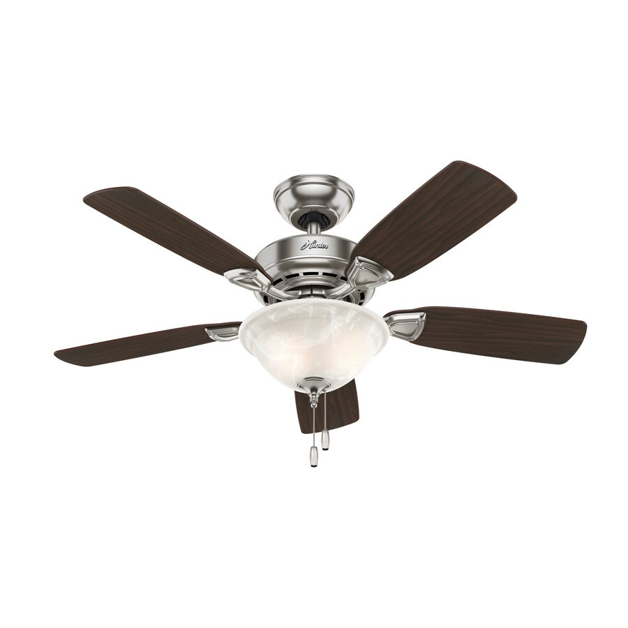 Hunter Caraway 44-in Brushed Nickel Downrod or Close Mount Indoor Residential Ceiling Fan with Light Kit