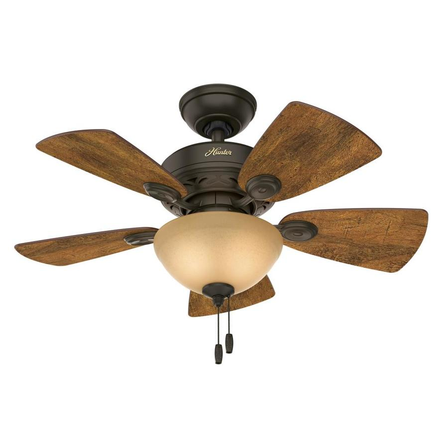 Hunter Watson 34-in New Bronze Downrod or Close Mount Indoor Residential Ceiling Fan with Light Kit