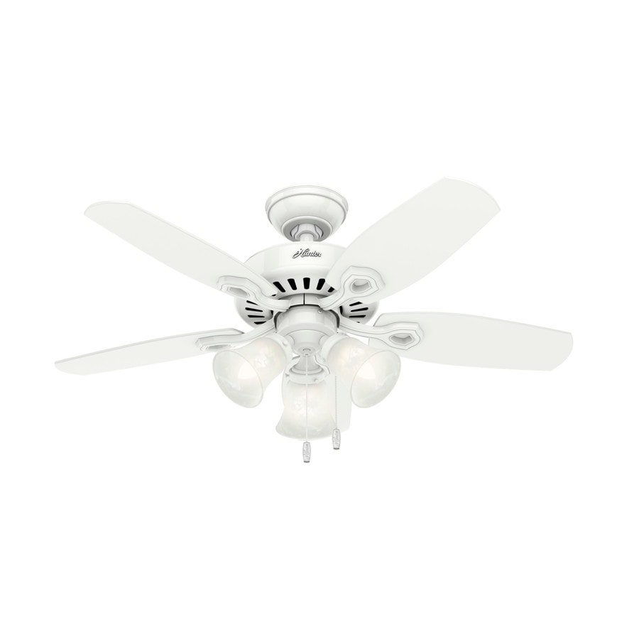 Hunter Builder Small Room 42-in Snow White Downrod or Close Mount Indoor Residential Ceiling Fan with Light Kit