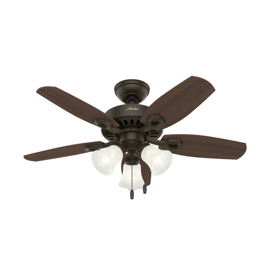 Hunter Builder Small Room 42-in New Bronze Downrod or Close Mount Indoor Residential Ceiling Fan with Light Kit