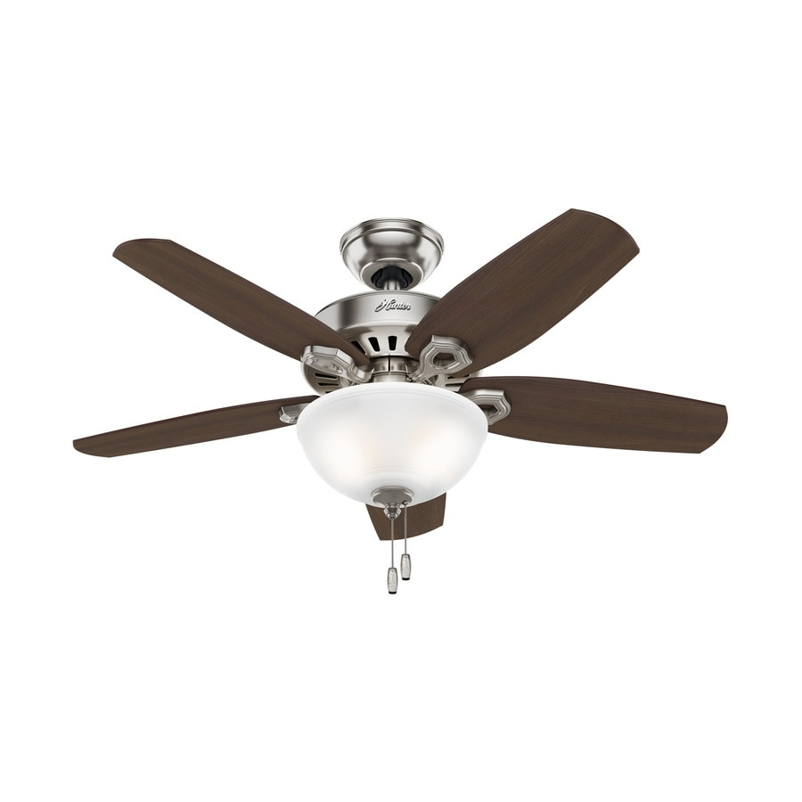 Hunter Builder Bowl 42-in Brushed Nickel Downrod or Close Mount Indoor Ceiling Fan with Light Kit