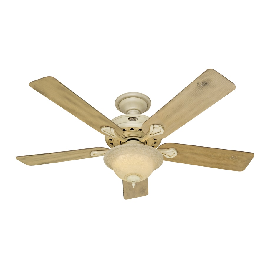 Hunter Lake Cottage II 52-in Harvest Wheat Downrod or Flush Mount Ceiling Fan with Light Kit