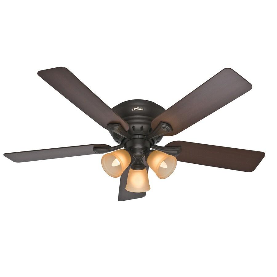 Hunter Reinert 52-in Premier Bronze Flush Mount Indoor Ceiling Fan with Light Kit