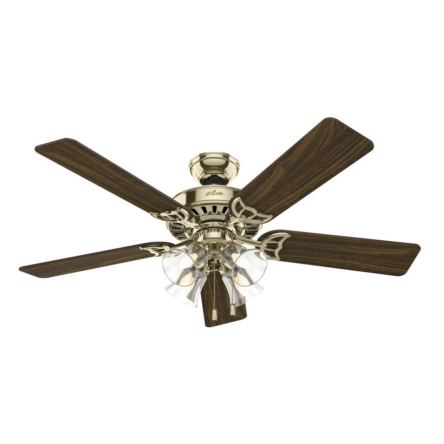 Hunter Studio Series 52-in Hunter Bright Brass Downrod or Close Mount Indoor Residential Ceiling Fan with Light Kit