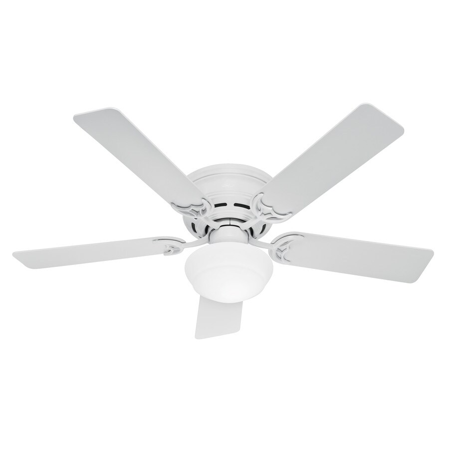 Hunter Low Profile Iii Plus 52-in White Flush Mount Indoor Ceiling Fan with Light Kit