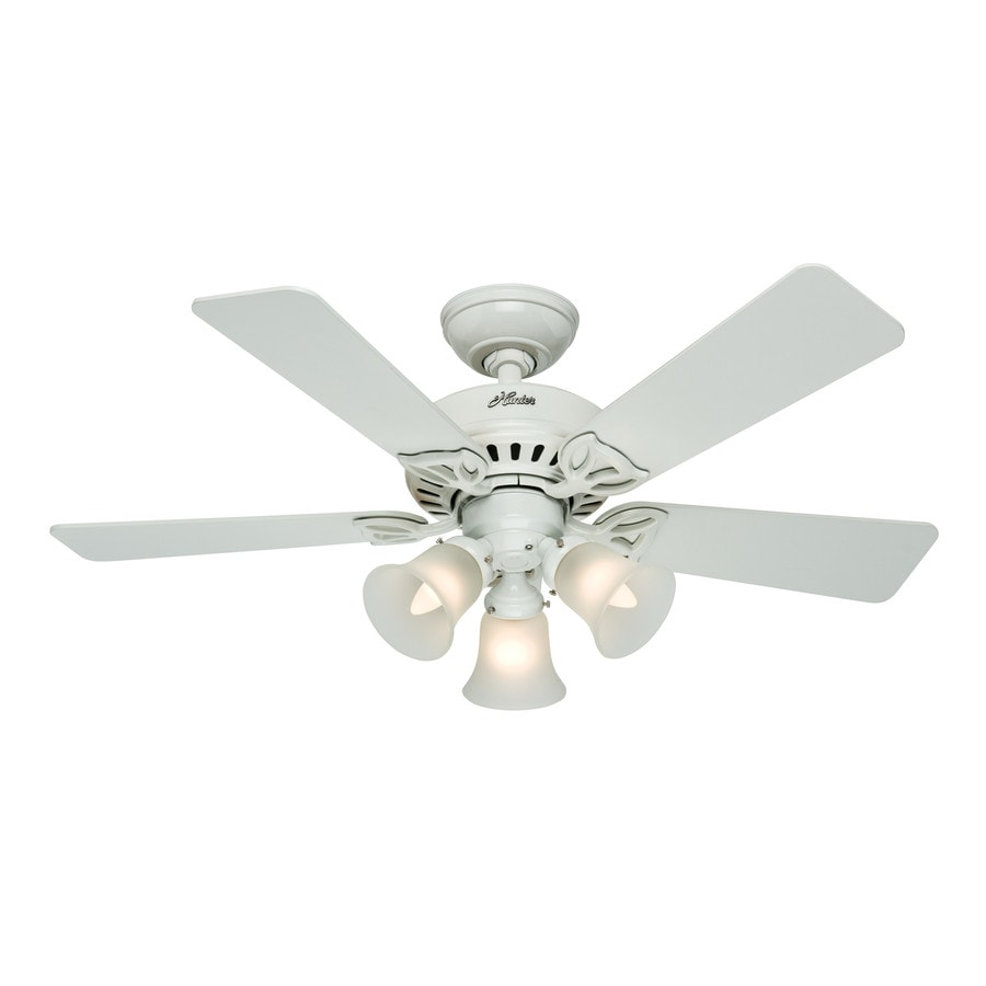 Hunter The Beacon Hill 42-in White Downrod or Close Mount Indoor Ceiling Fan with Light Kit