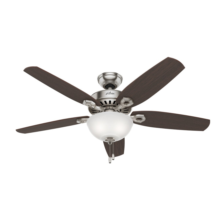 Hunter Builder Deluxe 52-in Brushed Nickel Downrod or Close Mount Indoor Residential Ceiling Fan with Light Kit
