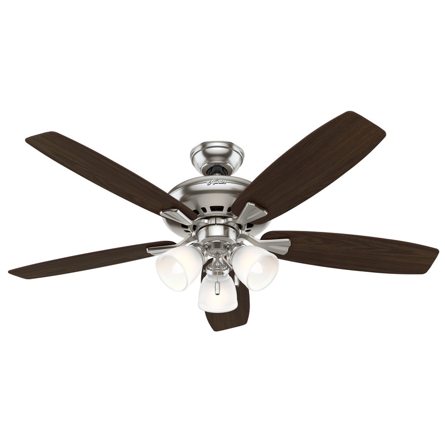 Hunter Winslow 52-in Brushed Nickel Downrod or Close Mount Indoor Residential Ceiling Fan with Light Kit