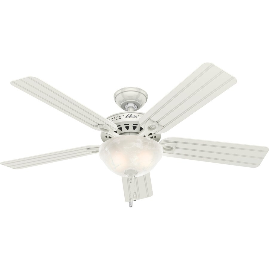 Hunter Beachcomber 52-in White Downrod or Close Mount Indoor/Outdoor Ceiling Fan with Light Kit