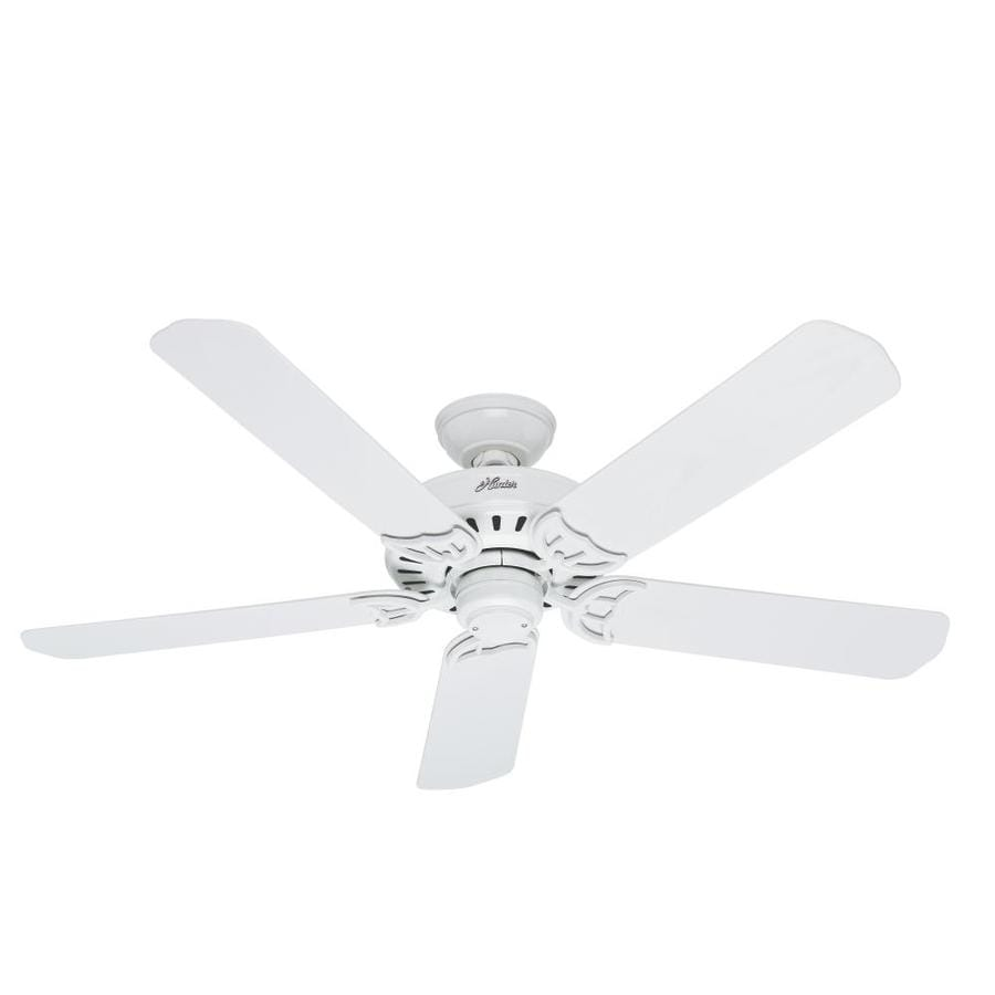 Hunter Bridgeport 52-in White Downrod or Close Mount Indoor/Outdoor Ceiling Fan ENERGY STAR