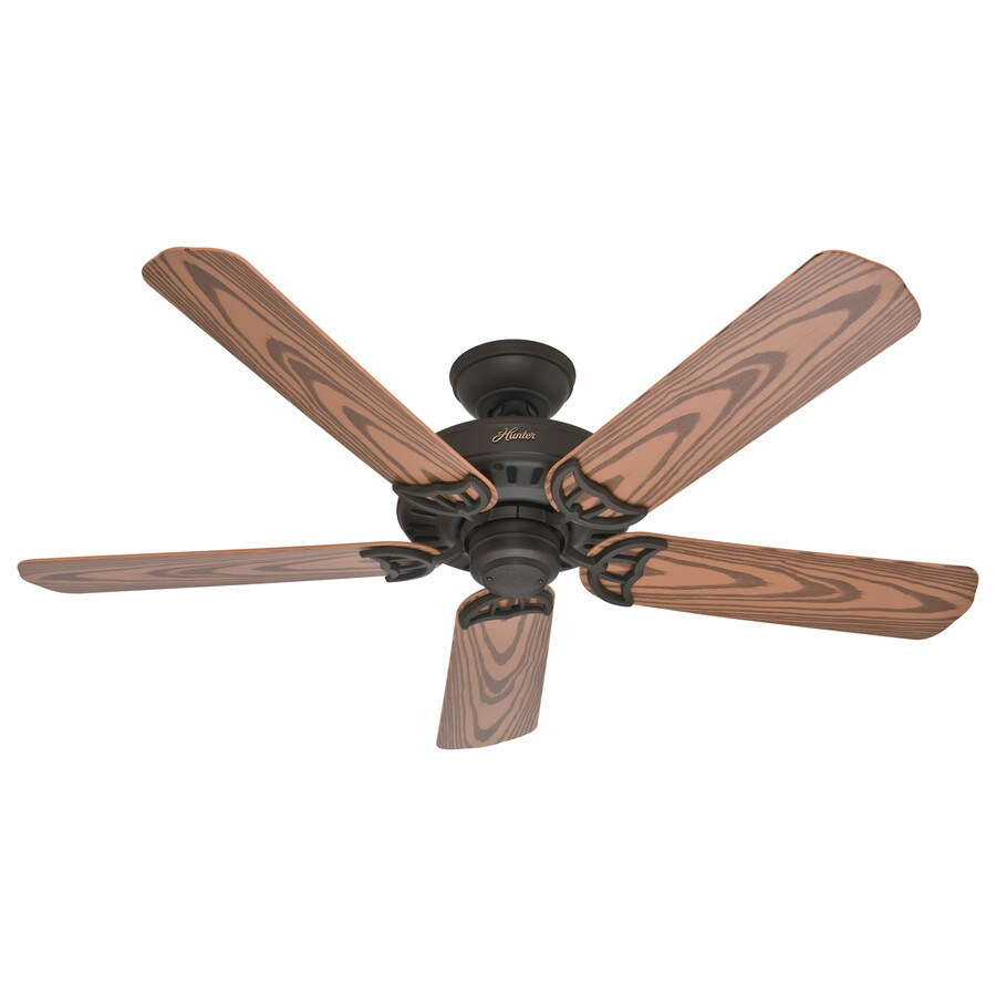 Hunter Bridgeport 52-in New Bronze Downrod or Close Mount Indoor/Outdoor Ceiling Fan ENERGY STAR