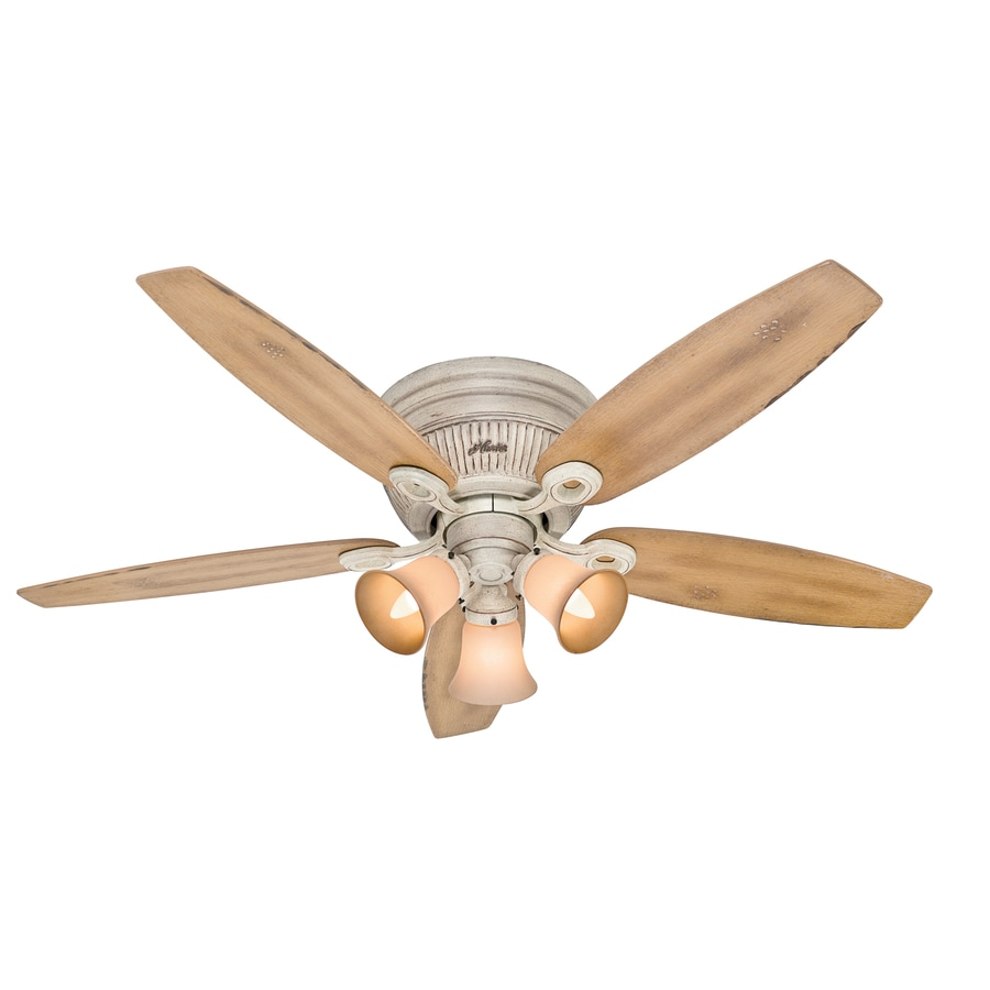 Hunter Wellesley Low Profile 52-in Burnished Creme Flush Mount Indoor Ceiling Fan with Light Kit