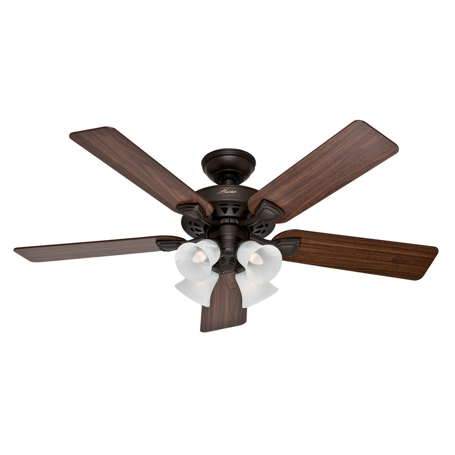 Hunter Westminster 5 Minute Fan 52-in New Bronze Downrod or Close Mount Indoor Residential Ceiling Fan with Light Kit