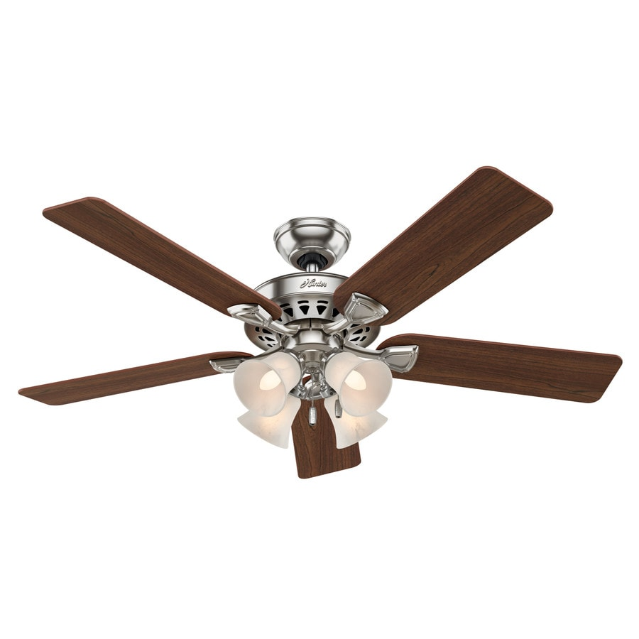 Hunter Westminster 5 Minute Fan 52-in Brushed Nickel Downrod or Close Mount Indoor Residential Ceiling Fan with Light Kit