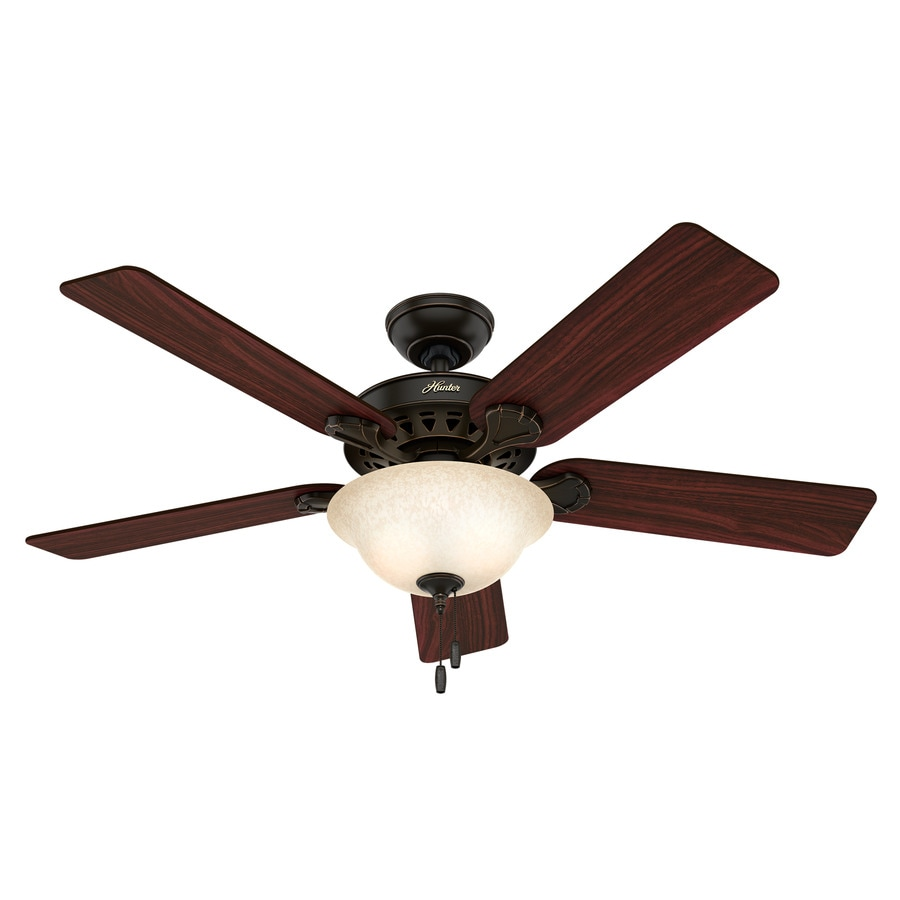 Hunter Waldon 5 Minute Fan 52-in Onyx Bengal Bronze Downrod or Close Mount Indoor Residential Ceiling Fan with Light Kit