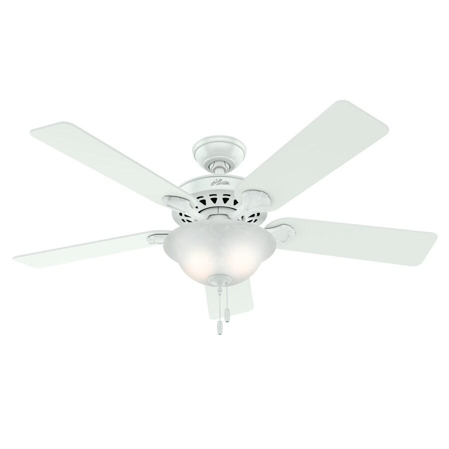 White Ceiling Fan With Lights: Shop Hunter Waldon 5 Minute Fan 52-in White Downrod Or
