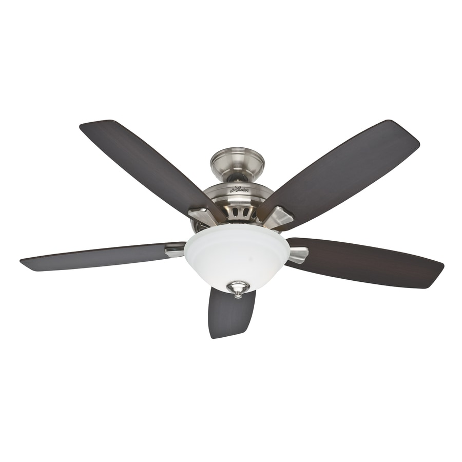 Hunter Banyan 52-in Brushed Nickel Downrod or Close Mount Indoor Ceiling Fan with Light Kit
