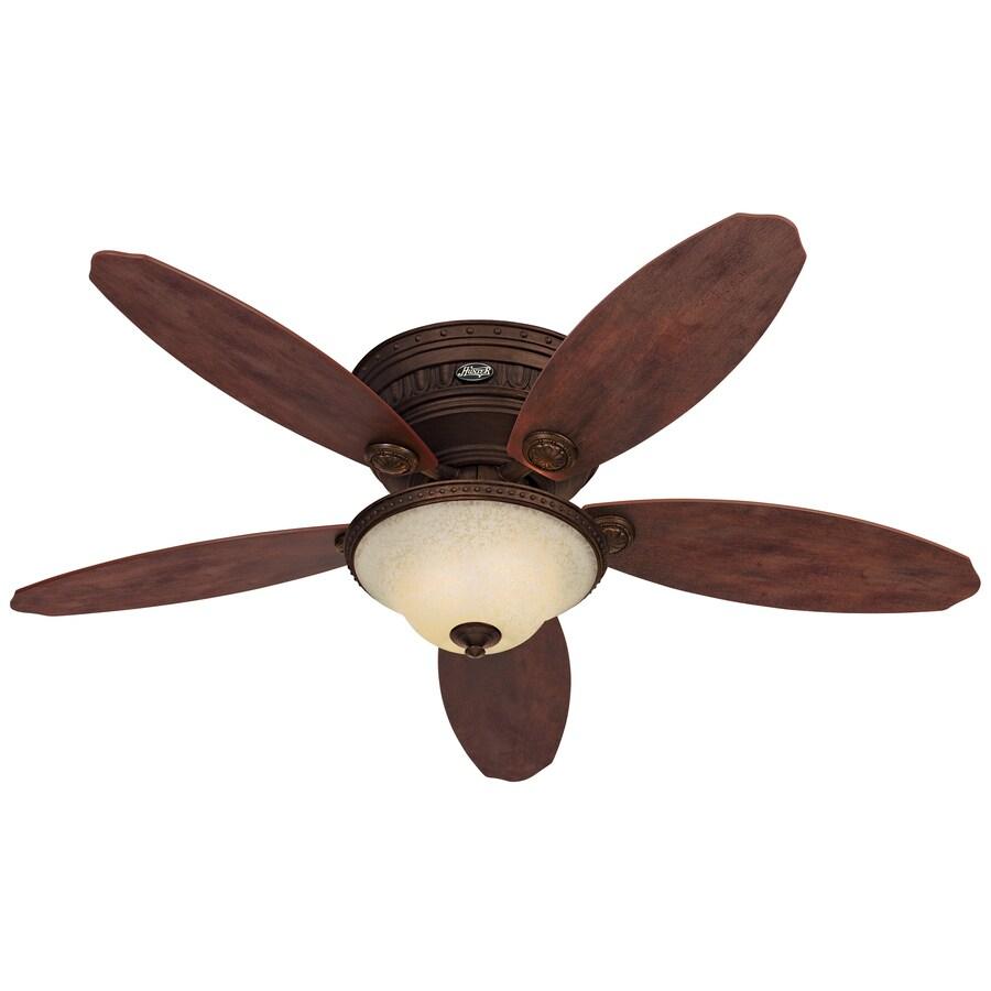 Hunter Avignon 52-in Tuscan Gold Flush Mount Indoor Ceiling Fan with Light Kit