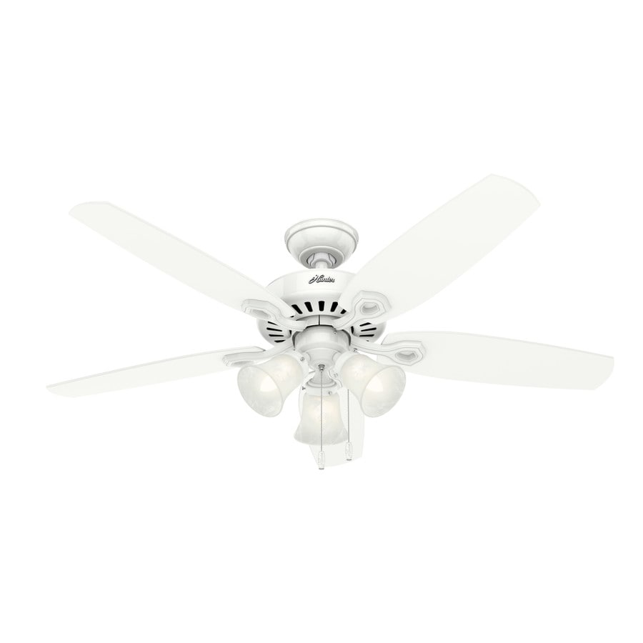 Hunter Builder Plus 52-in Snow White Downrod or Close Mount Indoor Residential Ceiling Fan with Light Kit