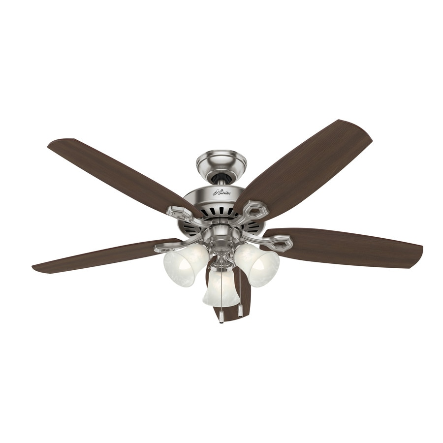 Hunter Builder Plus 52-in Brushed Nickel Downrod or Close Mount Indoor Residential Ceiling Fan with Light Kit