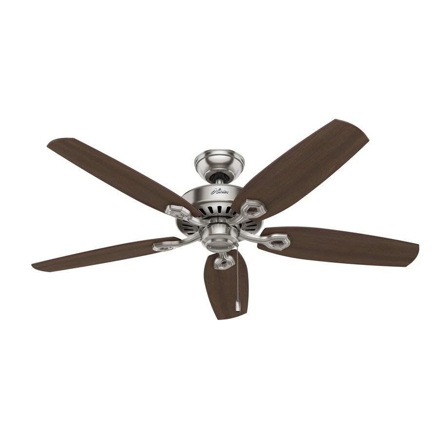 Hunter Builder Elite 52-in Brushed Nickel Downrod or Close Mount Indoor Residential Ceiling Fan ENERGY STAR