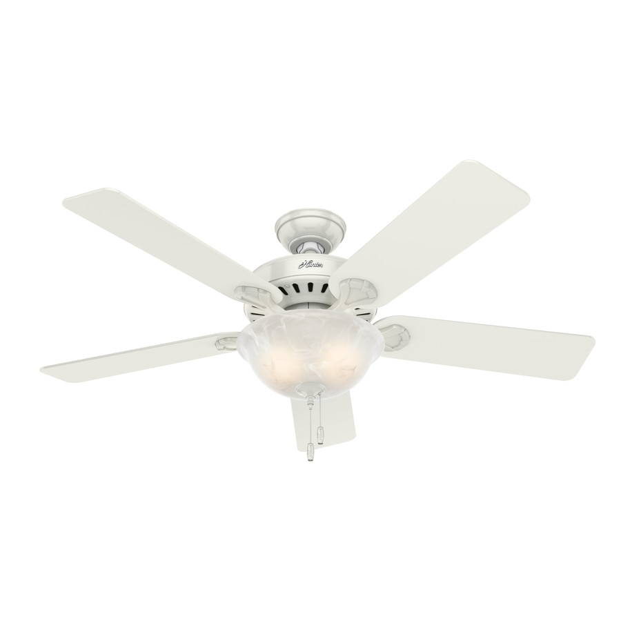 Hunter Pro's Best 5 Minute Fan 52-in White Downrod or Close Mount Indoor Ceiling Fan with Light Kit