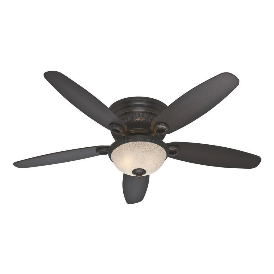Hunter Ashmont 52-in Onyx Bengal Bronze Flush Mount Indoor Ceiling Fan with Light Kit