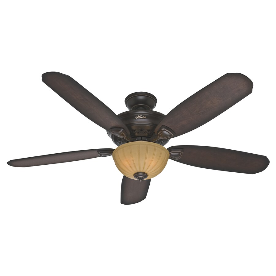 Hunter Markley 56-in Onyx Bengal Bronze Downrod or Close Mount Indoor Ceiling Fan with Light Kit
