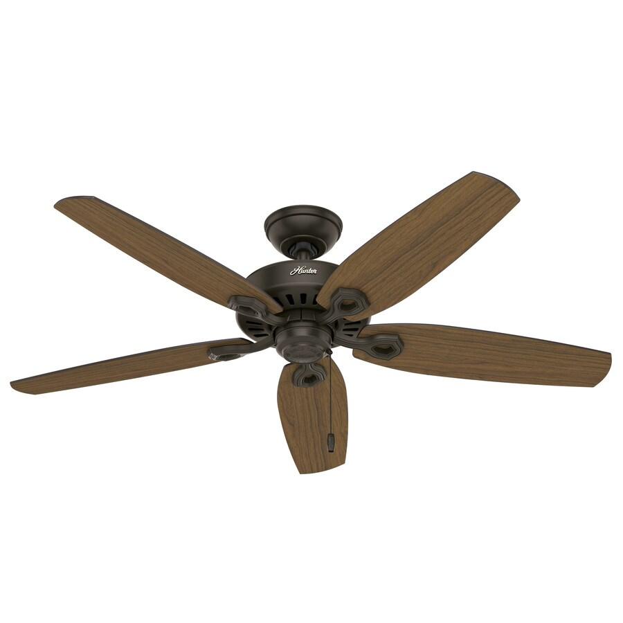 Hunter Builder Elite Damp 52-in New Bronze Downrod or Close Mount Indoor/Outdoor Ceiling Fan