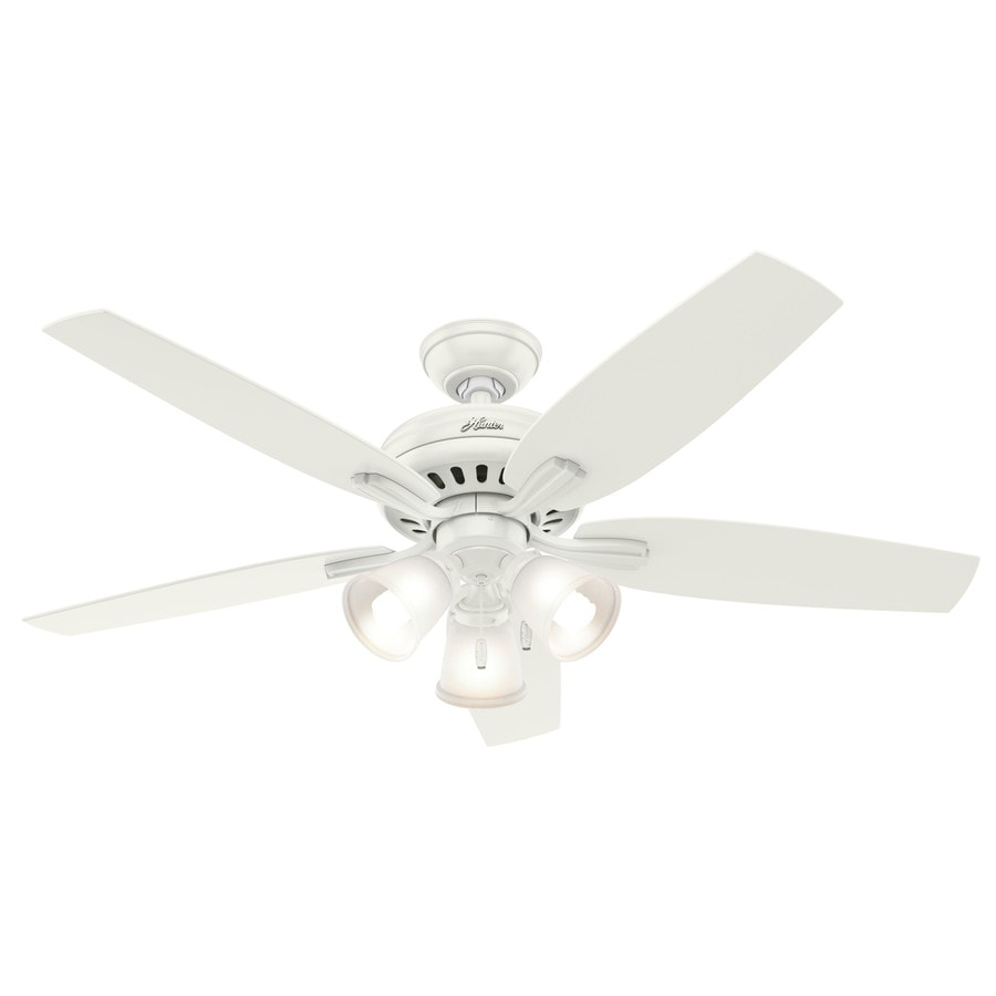 Hunter Newsome 52-in Fresh White Downrod or Close Mount Indoor Ceiling Fan with Light Kit