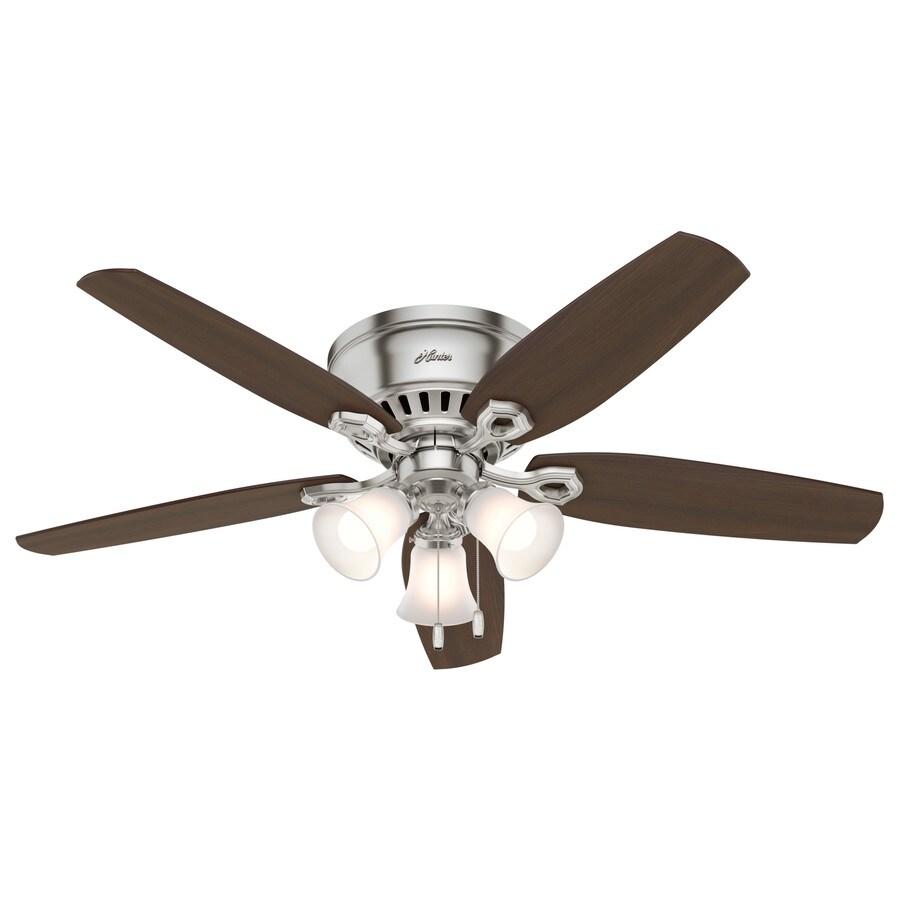 Hunter Builder Low Pro 52-in Brushed Nickel Flush Mount Indoor Ceiling Fan with Light Kit
