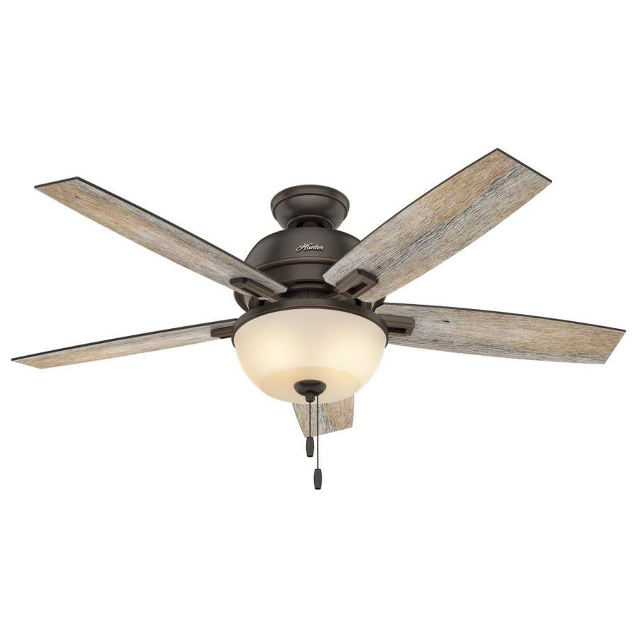 Hunter Donegan 52-in Onyx Bengal Bronze Downrod or Close Mount Indoor Ceiling Fan with Light Kit