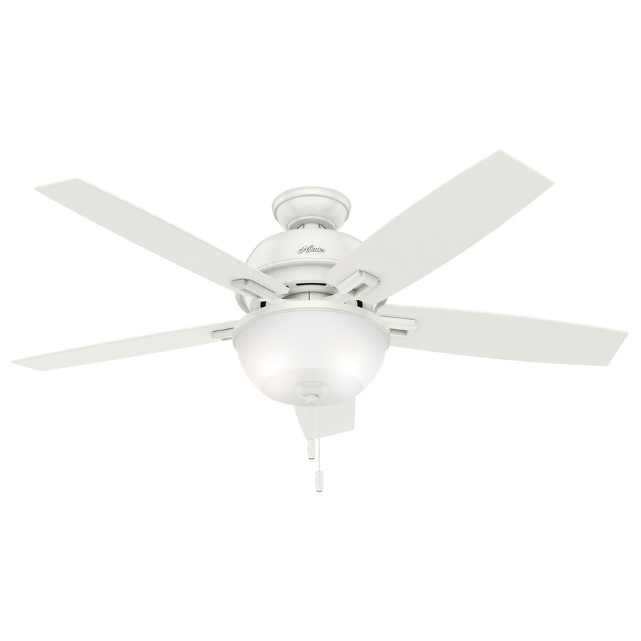 Hunter Donegan 52-in Fresh White Downrod or Close Mount Indoor Ceiling Fan with Light Kit