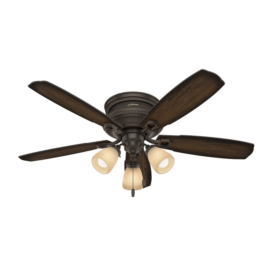 Hunter Ambrose 52-in Onyx Bengal Bronze Flush Mount Indoor Ceiling Fan with Light Kit