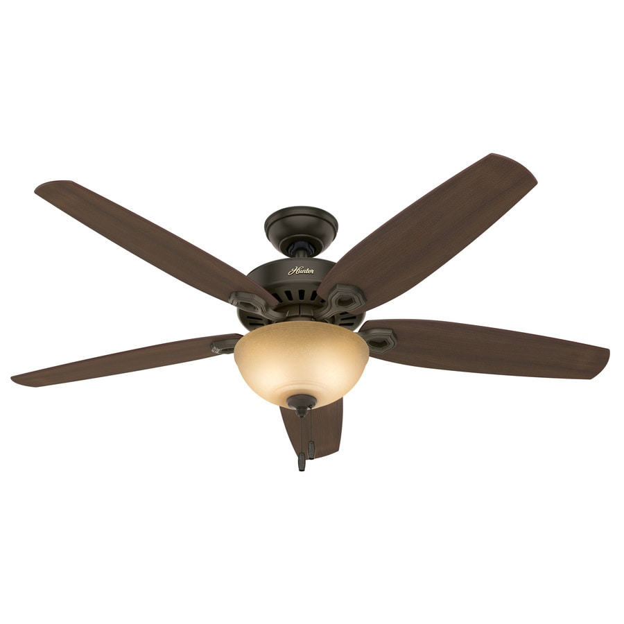 Hunter Builder Bowl 56-in New Bronze Downrod or Close Mount Indoor Ceiling Fan with Light Kit