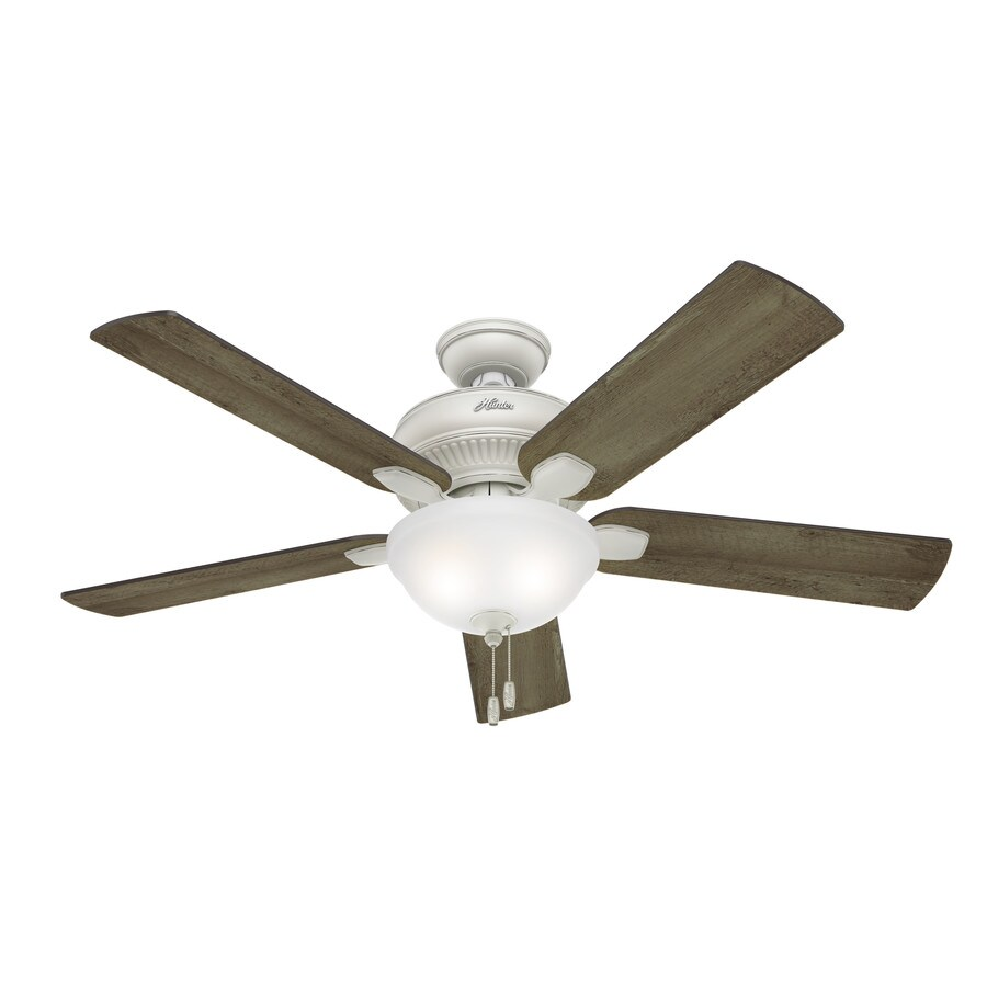 Hunter Matheston 52-in Cottage White Downrod or Close Mount Indoor/Outdoor Ceiling Fan with Light Kit