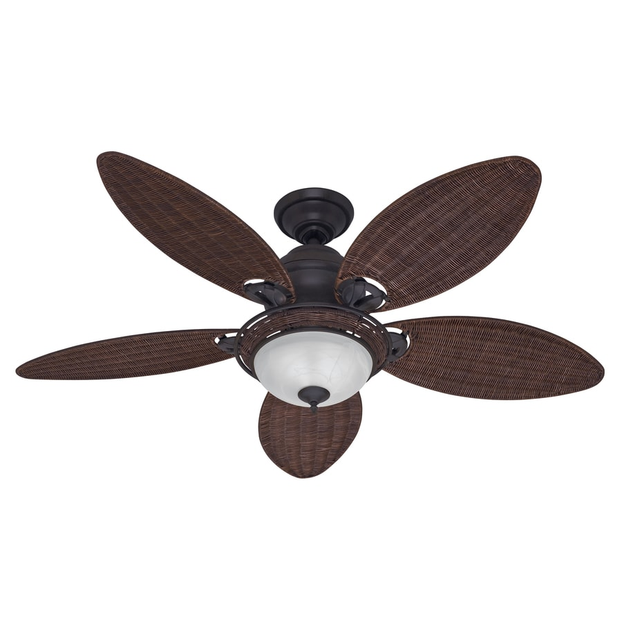 Hunter Caribbean Breeze 54-in Weathered Bronze Downrod or Close Mount Indoor Ceiling Fan with Light Kit