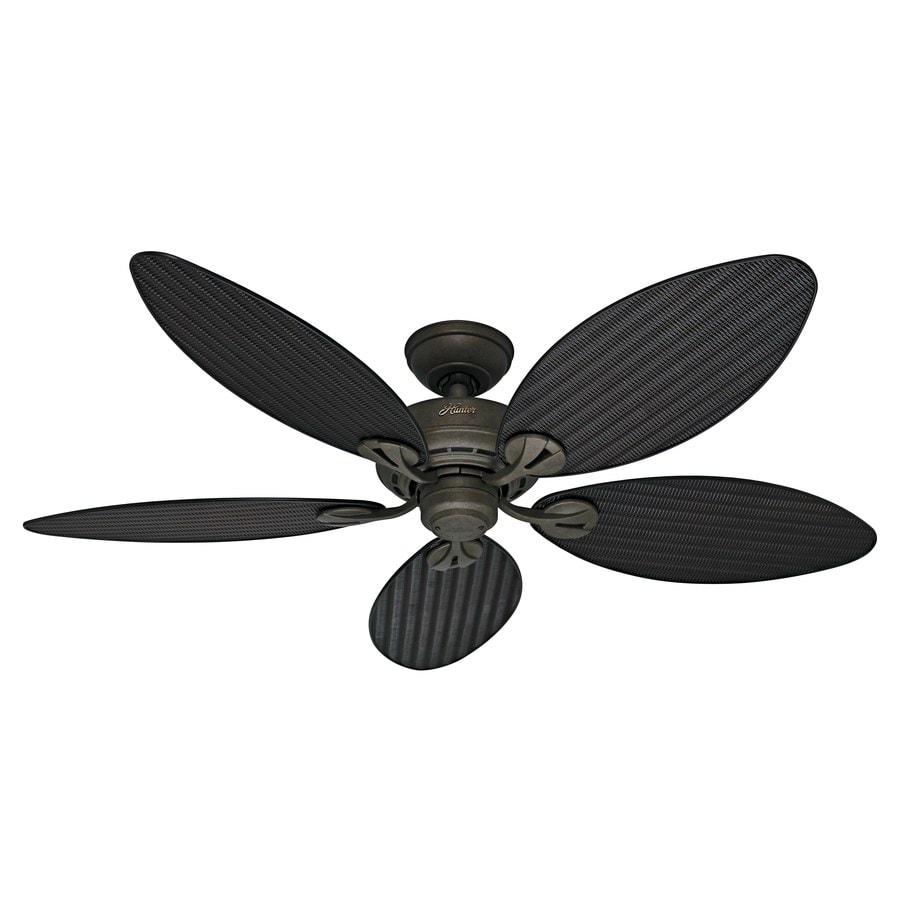 Hunter Bayview 54-in Provencal Gold Downrod or Close Mount Indoor/Outdoor Residential Ceiling Fan ENERGY STAR