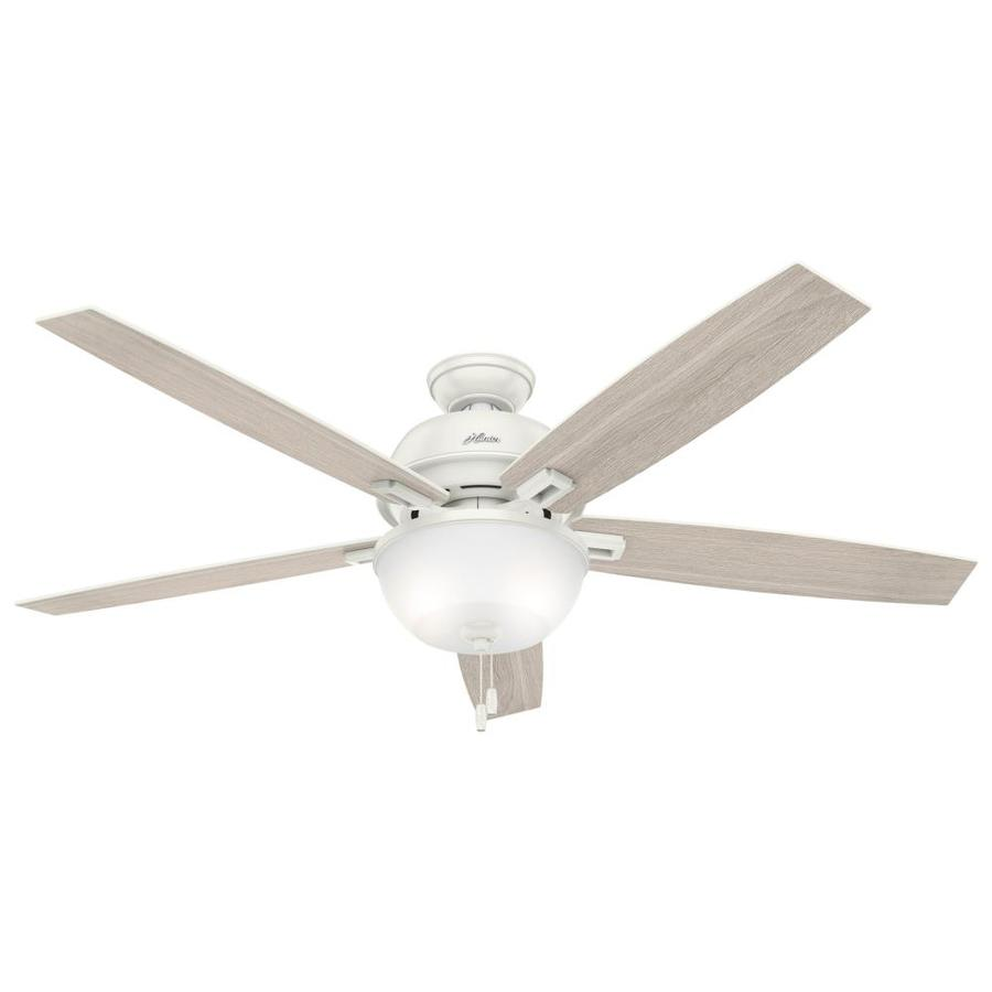 Hunter Donegan 60-in Fresh White Downrod or Close Mount Indoor Ceiling Fan with Light Kit