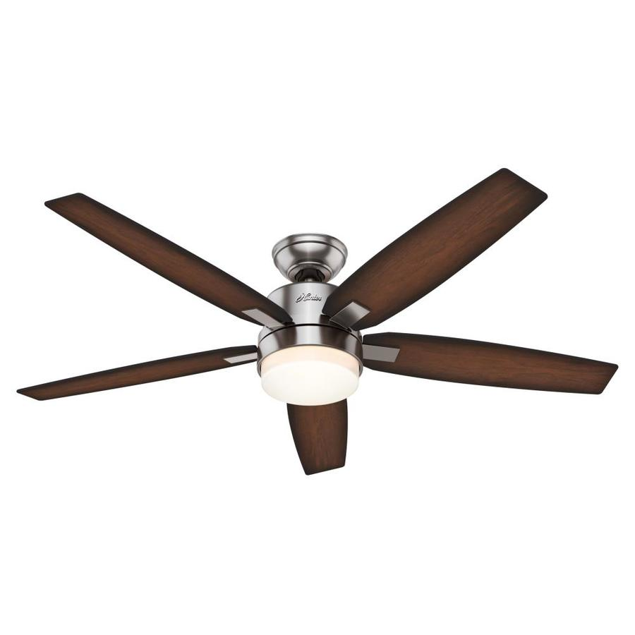 Hunter Windemere 54-in Brushed Nickel Downrod Mount Indoor Residential Ceiling Fan with Light Kit and Remote