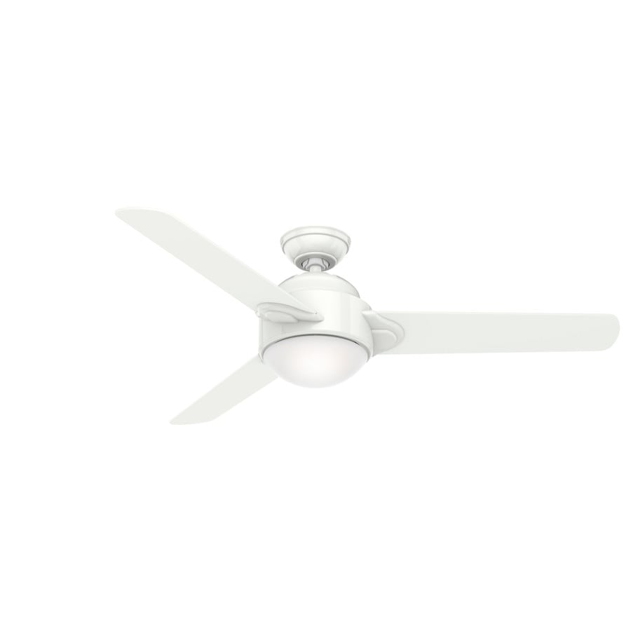 Casablanca Trident 54-in Snow White Downrod Mount Indoor Residential Ceiling Fan with Light Kit and Remote (3-Blade)
