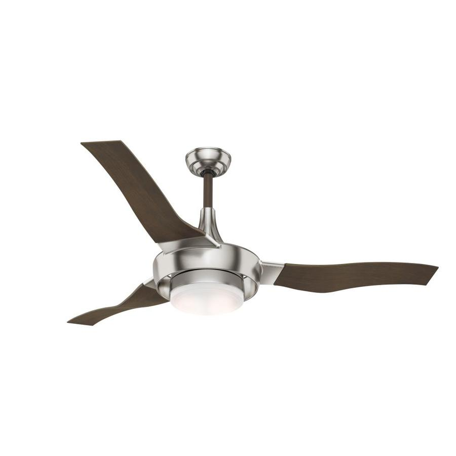 Casablanca Perseus Led 64-in Brushed Nickel Downrod Mount Indoor Residential Ceiling Fan with LED Light Kit and Remote (3-Blade) ENERGY STAR