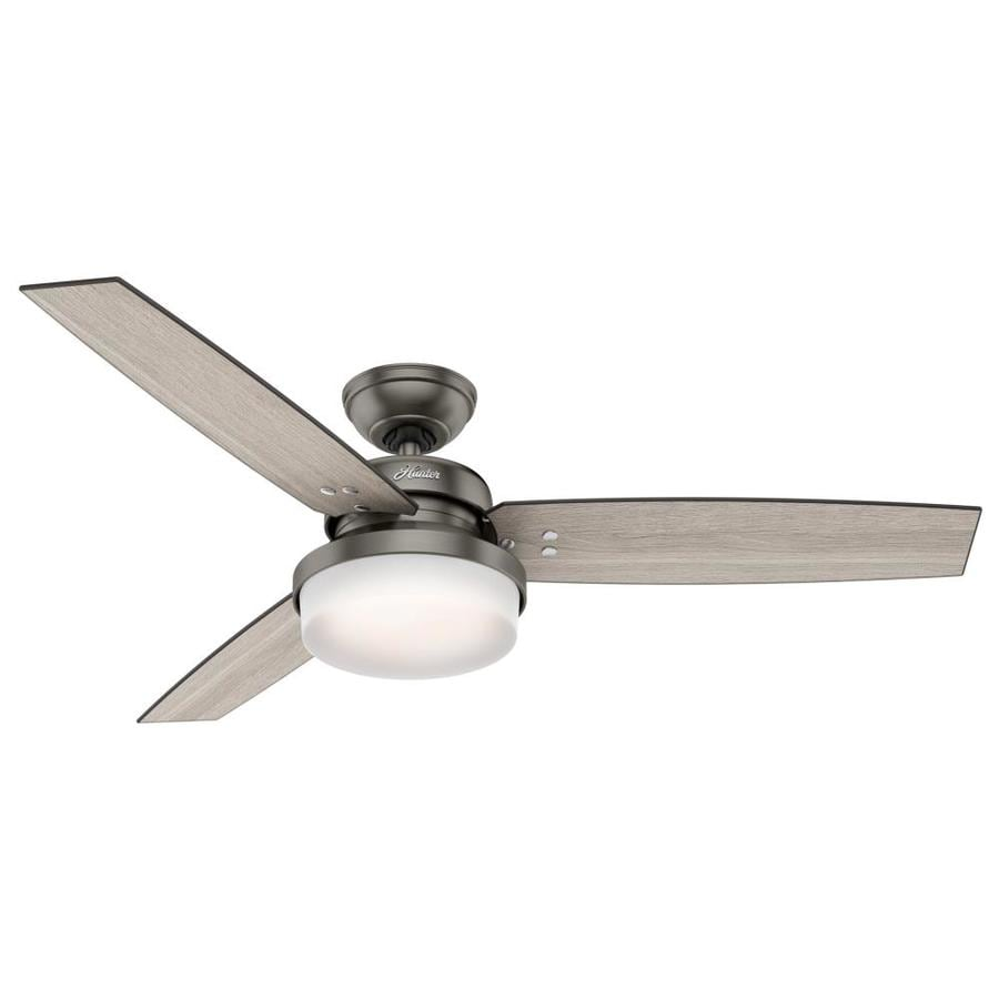 Hunter Sentinel 52-in Brushed Slate Downrod or Close Mount Indoor Ceiling Fan with Light Kit and Remote (3-Blade)