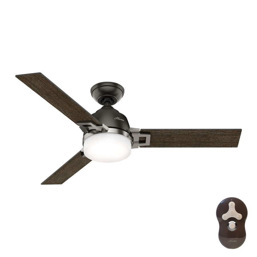 Hunter Leoni 48-in Noble Bronze and Brushed Nickel Downrod or Close Mount Indoor Ceiling Fan with Light Kit and Remote (3-Blade)